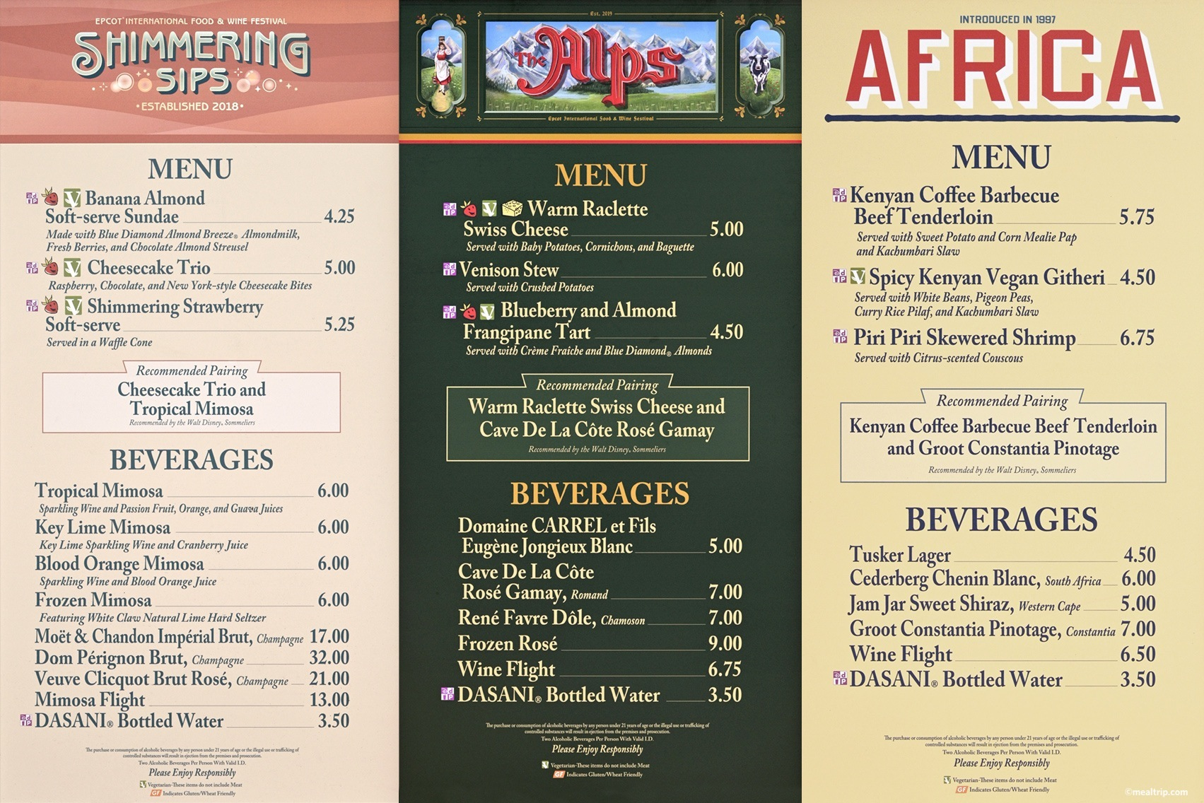 Epcot Food Wine Menu Boards With Prices And Food Photos